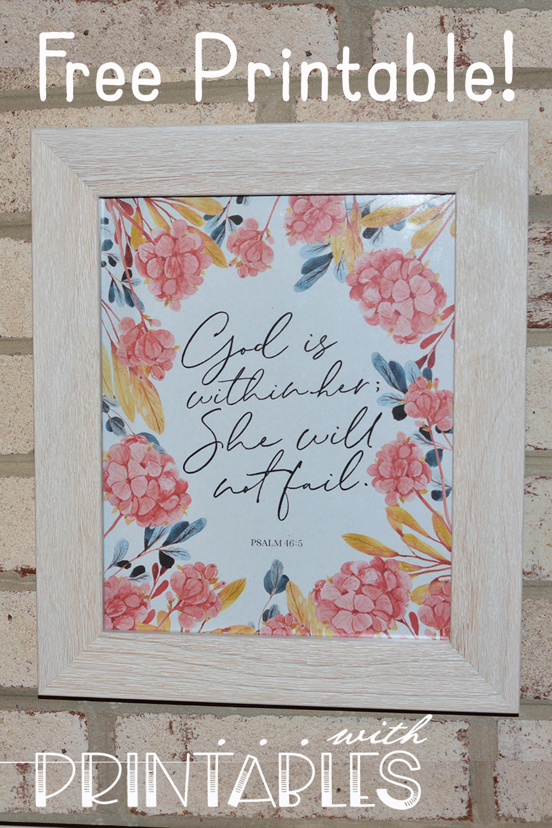 photograph about Free Printable Bible Verses to Frame called Attractive Free of charge Printable Bible Verse Poster for Psalm 46:5
