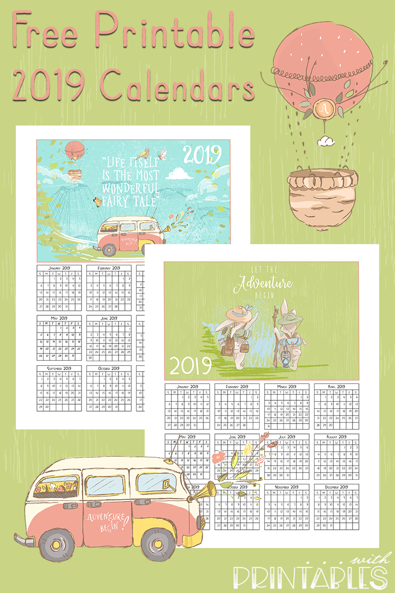 Free Printable 2019 Calendars - Adventure and Travel calendar Printables