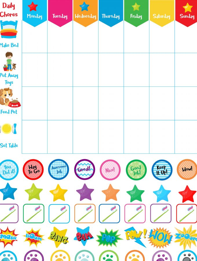 Free Printable Daily Chore Charts for Little Ones