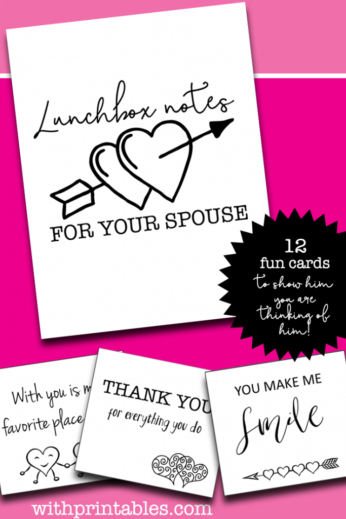 It is a photo of Exceptional Free Printable Lunchbox Notes for Husband