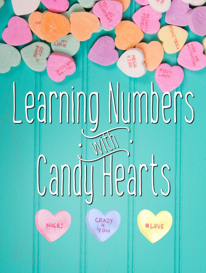 Candy Hearts on a Mint Green Book Cover called Learning Numbers with Candy Hearts.
